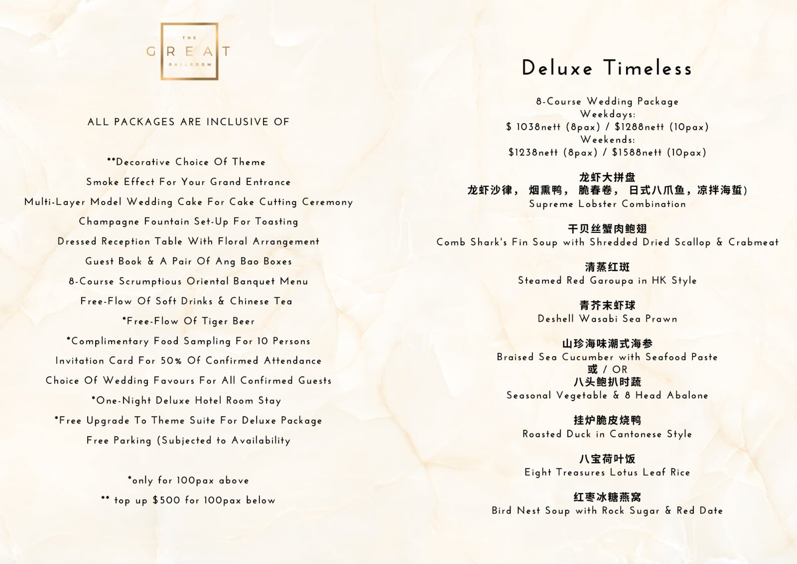 deluxe timless menu